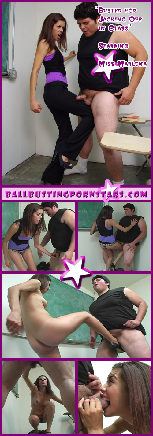 Latina Miss Marlena kicks his balls for masturbating in class