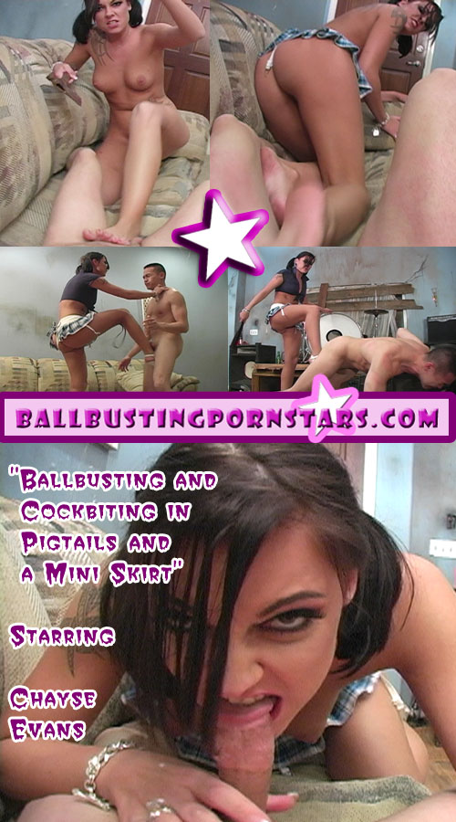Chayse Evans Cock Biting and Ball Biting Female Domination in Pigtails and a Miniskirt!