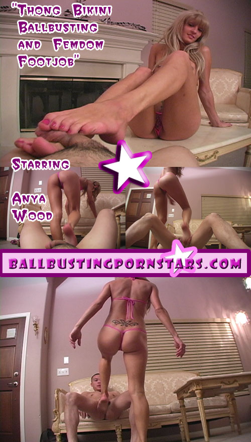 Anya Wood Femdom Foot Domination in a Pink Thong Bikini