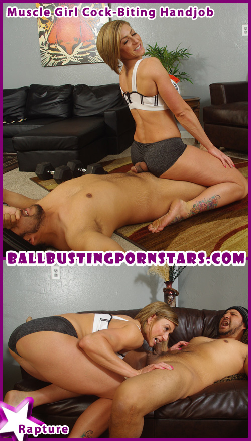 Bodybuilder and Muscle Girl Ballbusting