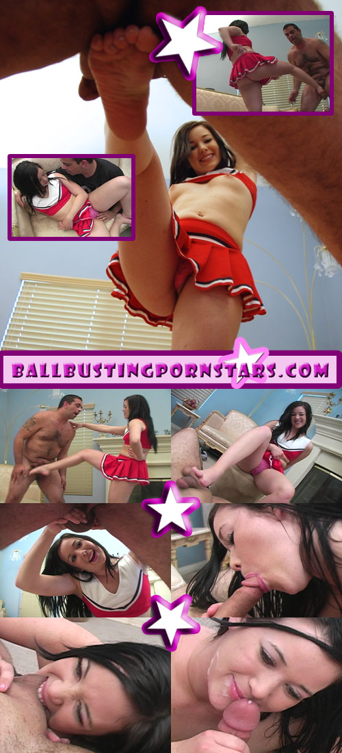 Teen Cheerleader Ballbusting